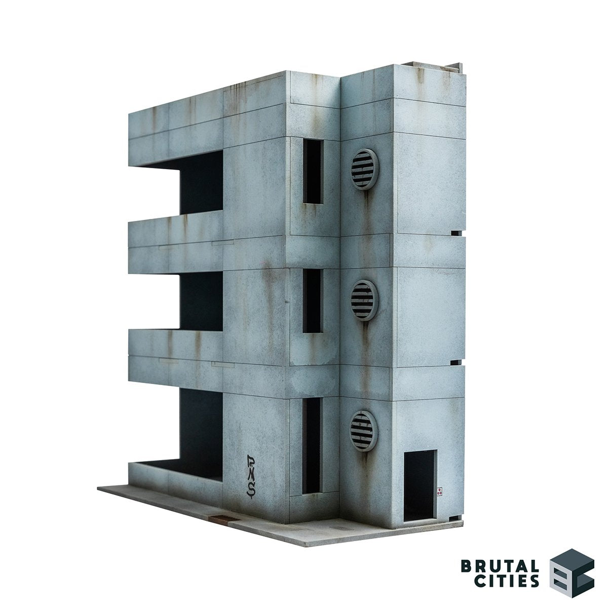 Minimalist concrete brutalist office building for wargaming