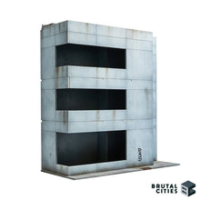 Load image into Gallery viewer, Minimalist Brutalist office building terrain for Sci-fi and modern wargaming.