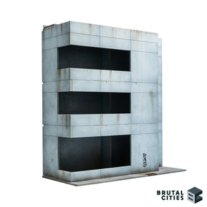 Minimalist Brutalist office building terrain for Sci-fi and modern wargaming.
