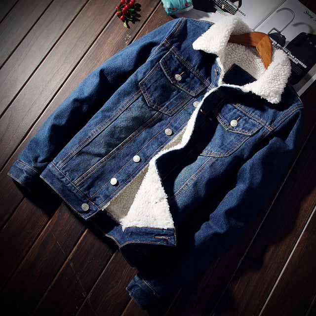 Denim Royal Blue Fur Jacket - Street Wear- 24 Hour Clearance Sale