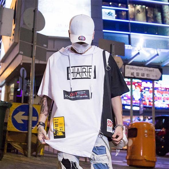 White and Black Patch Hip Hop T-Shirt - Premium Wear on Discount