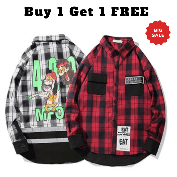 Buy 1 get 1 free Checker Thick print shirt - Street Wear- 24 Hour Clearance Sale hslop