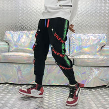 Load image into Gallery viewer, Strip Side Print Black Cotton Joggers -  Street Wear