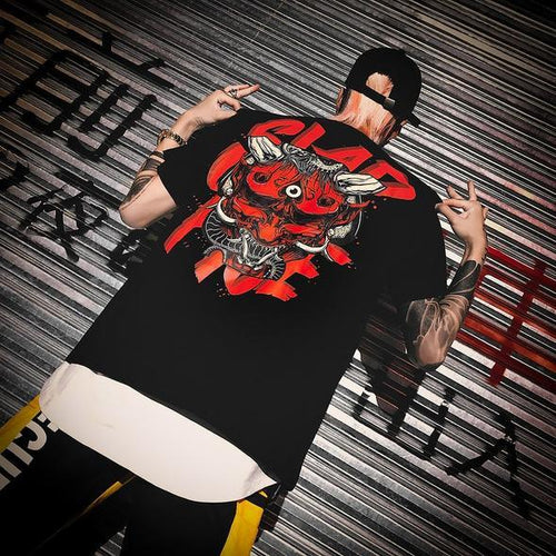 Black Back Print Hip Hop T-Shirt - Premium Wear on Discount