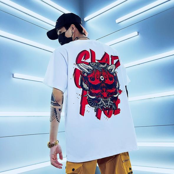 White Back Print Hip Hop T-Shirt - Premium Wear on Discount