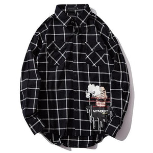 Buy 1 get 1 free 'black n white' Checker Thick print shirt - Street Wear- 24 Hour Clearance Sale hslop