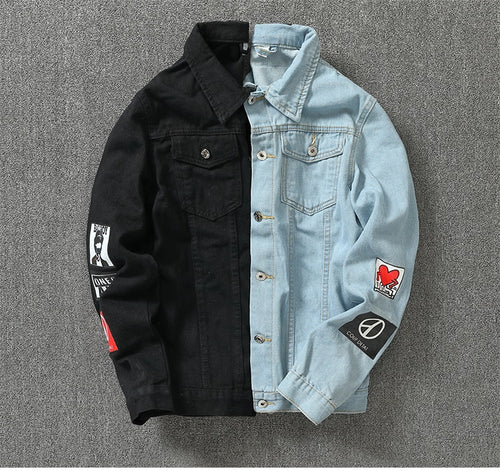 Two Tone Blue And Black Denim Jacket - Street Wear- 24 Hour Clearance Sale