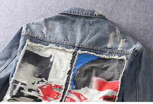 Patch Denim Rugged Jacket Jacket - Street Wear- 24 Hour Clearance Sale
