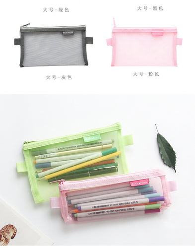 Transparent red and black pencil pouch