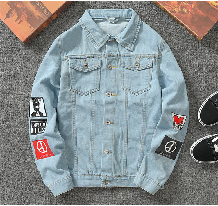 Denim Ice Blue Patch Lite Jacket - Street Wear- 24 Hour Clearance Sale