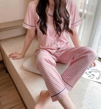 Cotton Nightsuit  Set of shirt and bottom_ Pink stripe print _ womans wear