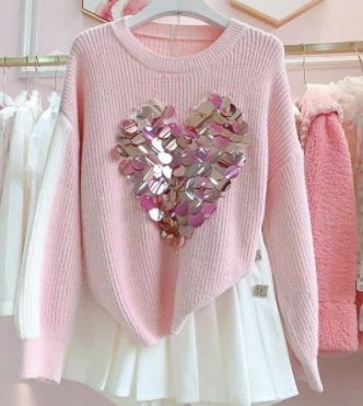 Big Embroidery sequence Pullover womans wear Pink
