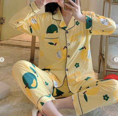 Yellow and green design limited Edition nightsuit womans wear