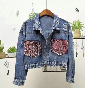 Last few Denim Jacket Embroidery sequence Tshirt dress womans wear Blue