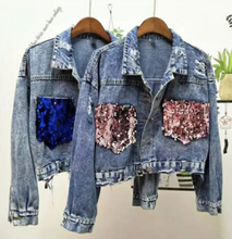 Load image into Gallery viewer, Last few Denim Jacket Embroidery sequence Tshirt dress womans wear Blue