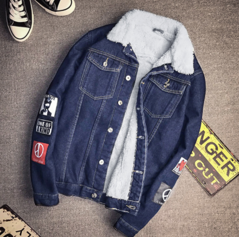 Dark Blue patch Denim Jacket on clearance sale - jacket sale