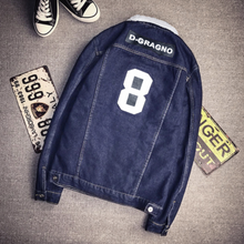 Load image into Gallery viewer, Dark Blue patch Denim Jacket on clearance sale - jacket sale