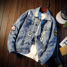 Load image into Gallery viewer, Patch classic denim jacket Denim Jacket on clearance sale - jacket sale