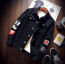 Load image into Gallery viewer, Black denim jacket Denim Jacket on clearance sale - jacket sale