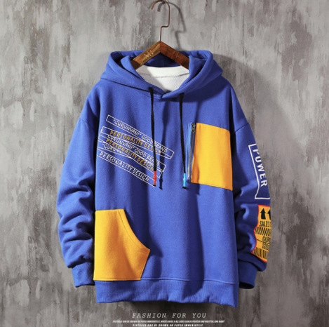 (Blue)Patch Sweatshirt on clearance sale - jacket sale