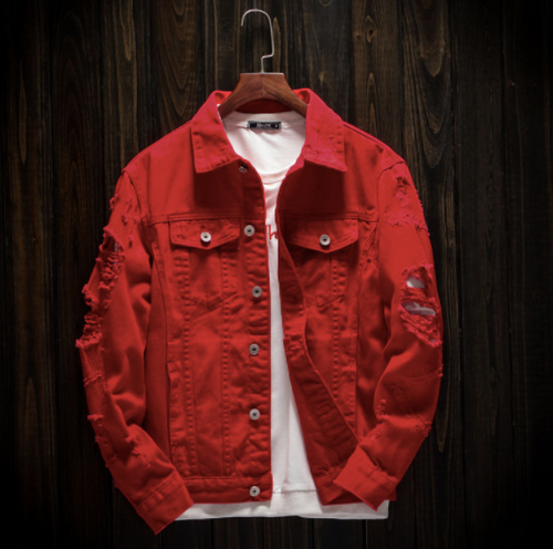 Red Denim Jacket on clearance sale - Jacket Limited offer