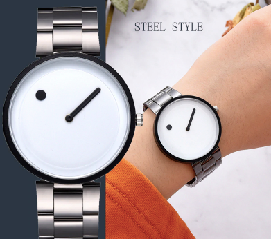 Lite white steel numberless analogue battery operated - Analogue wrist wear
