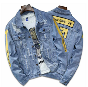 True Blue strip Yellow Denim Jacket - Street Wear- 24 Hour Clearance Sale