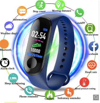 Blue Smart Heart Rate Blood Pressure Smart Band Fitness Tracker Smartband Wristband Gbp Ggp