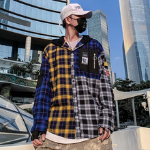 Load image into Gallery viewer, Buy 1 get 1 free 'Blue n Yellow' Checker Thick print shirt - Street Wear- 24 Hour Clearance Sale hslop