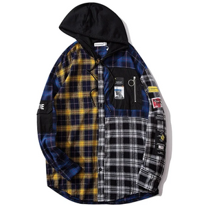 Buy 1 get 1 free 'Blue n Yellow' Checker Thick print shirt - Street Wear- 24 Hour Clearance Sale hslop