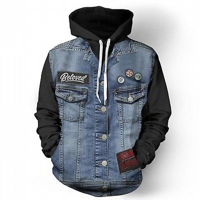 Blue and Black denim Jacket - Street Wear- 24 Hour Clearance Sale
