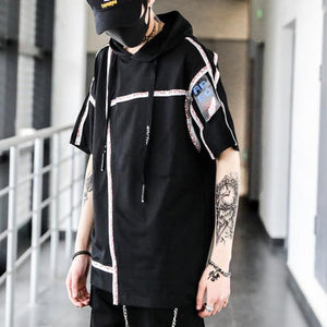 Black Hooded Strip Hip Hop T-Shirt - Premium Wear on Discount