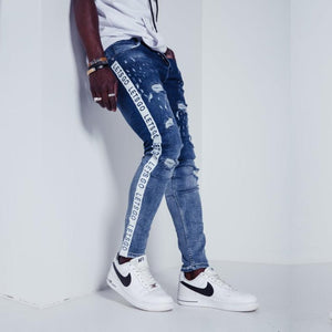 Side Strip Denim - White theme - 100% Cotton Street Wear 24 Hour Clearance Sale