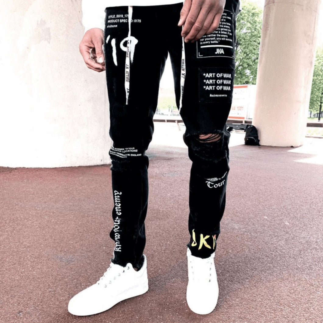 Black street denim jeans- 100% Street Wear