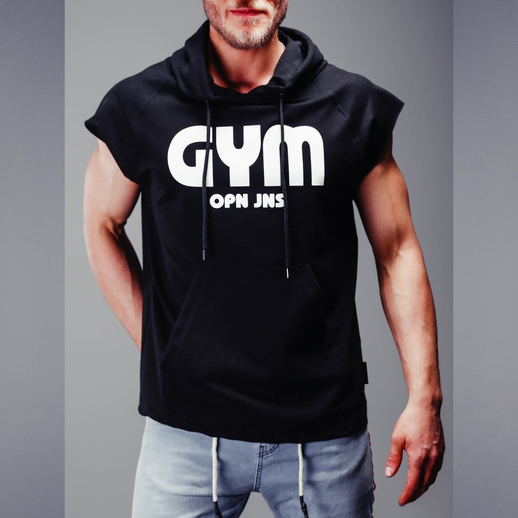 Gym cut sleeve hooded T-Shirt- Premium Wear on Discount