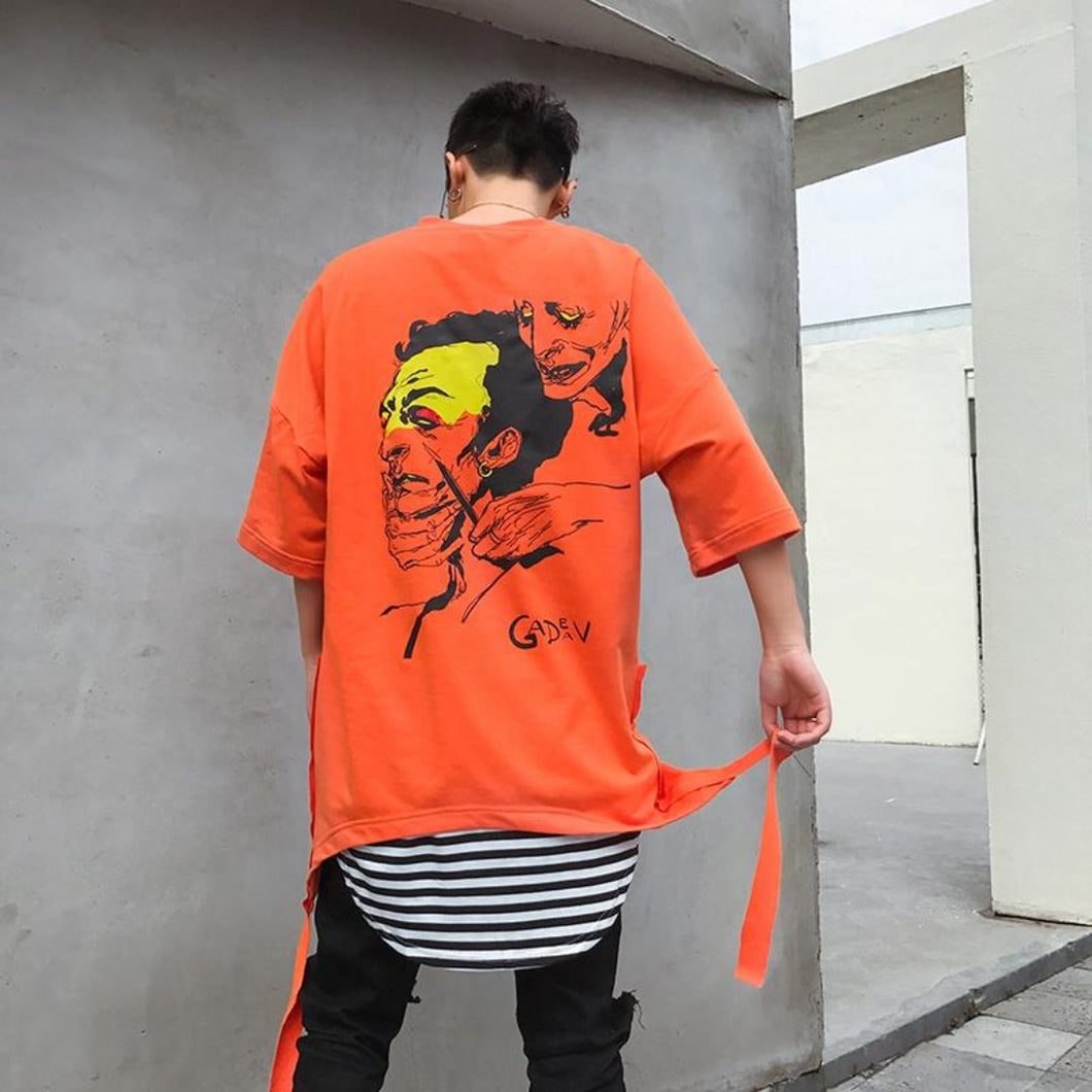 Orange Evil Print Strip Hip Hop T-Shirt - Premium Wear on Discount