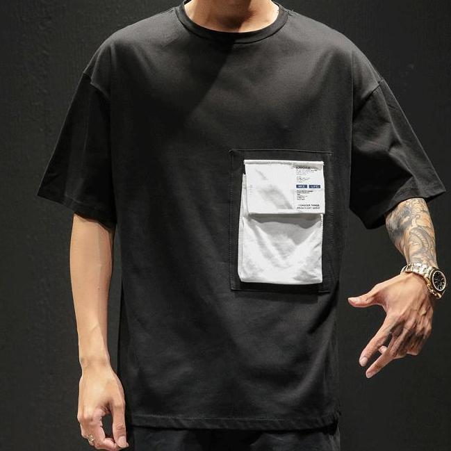 Black Pocket T-Shirt - Premium Wear, 100% Cotton - Street Wear