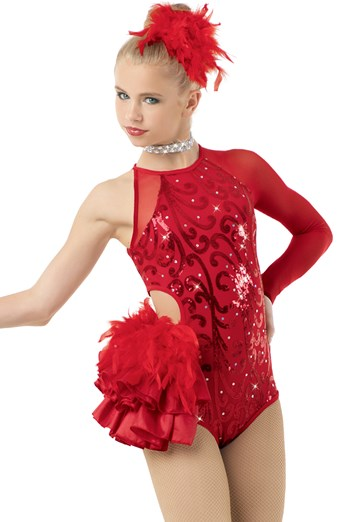 Buy online high quality CONSIGN - Red Asymmetrical Leotard with Bustle (LC) - The Movement Boutique - Kelowna