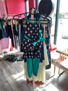 Buy online high quality CONSIGN - Weissman Teal/Black Polka Dot Unitard with Skirt (SC) - The Movement Boutique - Kelowna