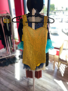 Buy online high quality CONSIGN - Yellow Sequin Leo with Separate Skirt (10C) - The Movement Boutique - Kelowna