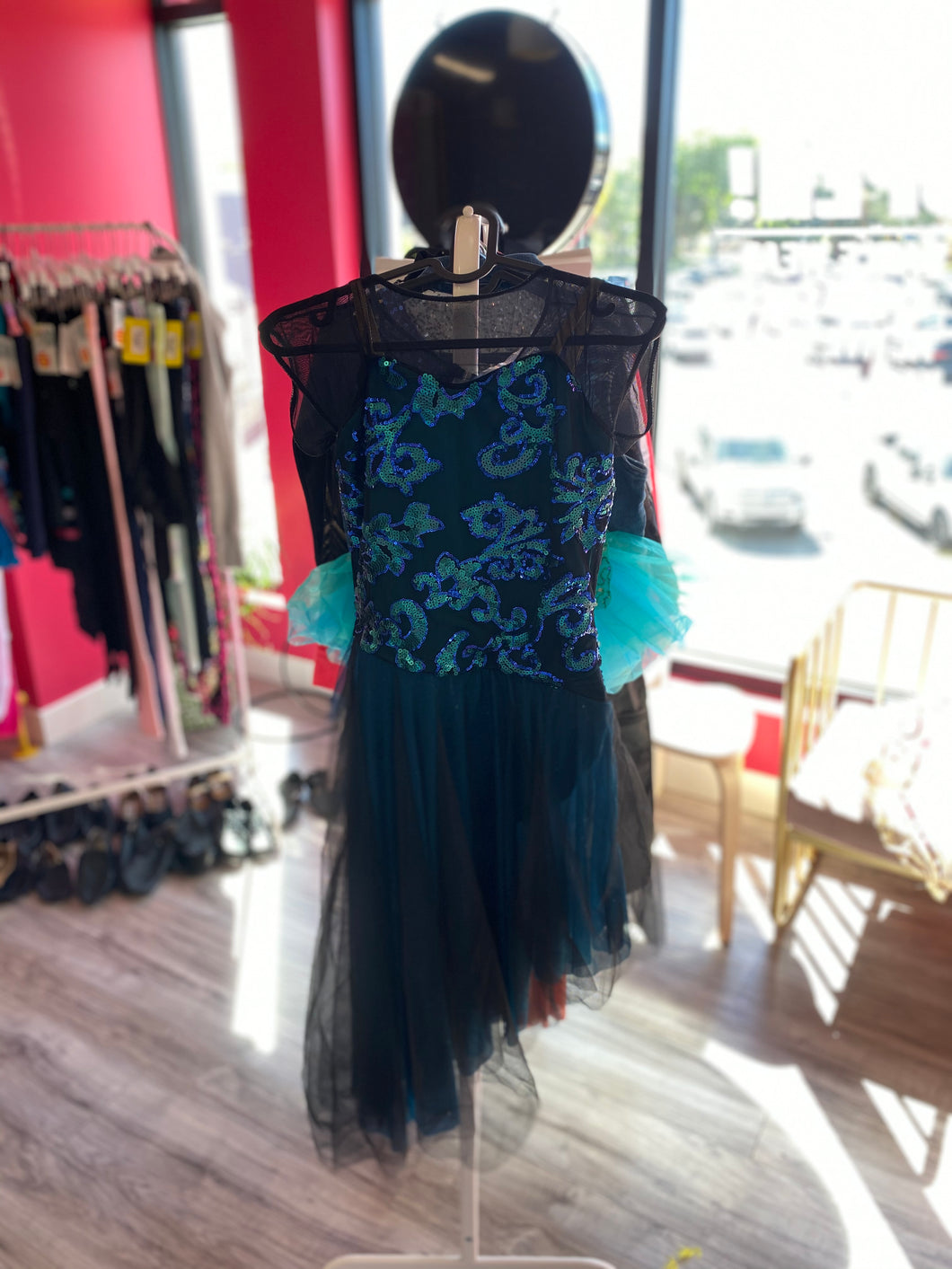 Buy online high quality CONSIGN - Revolution Teal and Sequin Mesh Overlay Dress (SA) - The Movement Boutique - Kelowna