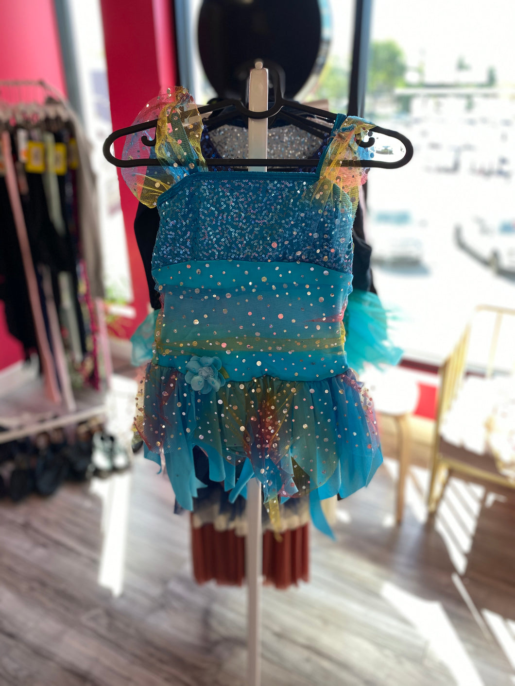Buy online high quality CONSIGN - Blue Mesh and Sequin Overlay Leotard (MC) - The Movement Boutique - Kelowna