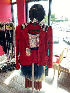 Buy online high quality CONSIGN - Sequin Top with Red Jacket and black pant (XLC) - The Movement Boutique - Kelowna