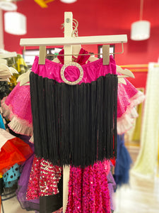 Buy online high quality CONSIGN - Black Tassel Skirt with Pink Belt - The Movement Boutique - Kelowna