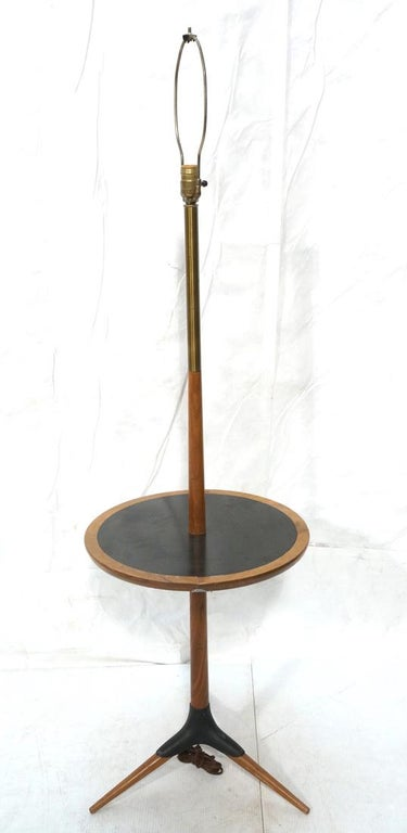 Modernist Wood & Brass Lamp Table