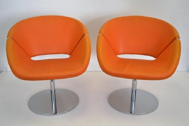 Pair Orange Leather/Chrome Swivel Chairs