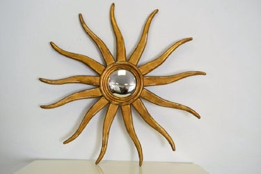 Large Italian 19th Century Gilded Wood Sunburst Mirror