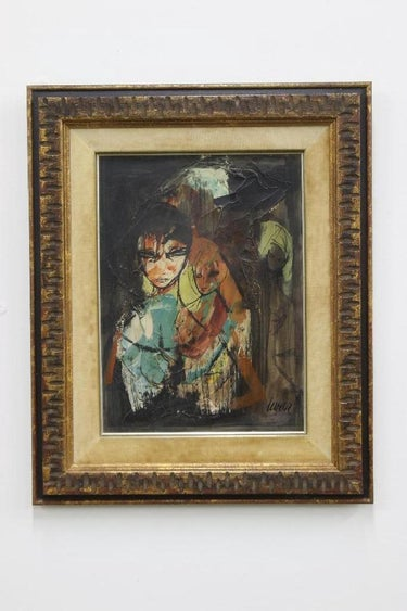 Charles Levier Mid Century Mixed Media Painting Figures