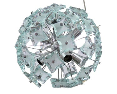 Italian Modern Chrome and Glass Sputnik Chandelier
