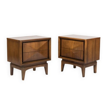 United Walnut Nightstands (2)